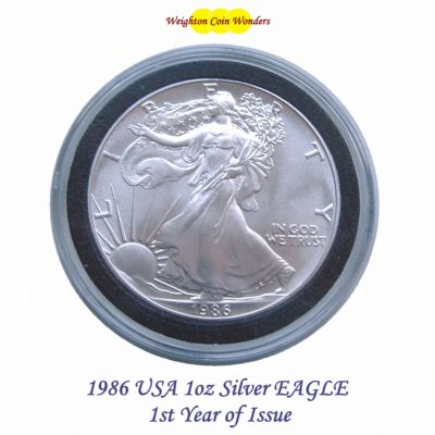 1986 USA 1oz Silver Eagle – 1st Year of Issue