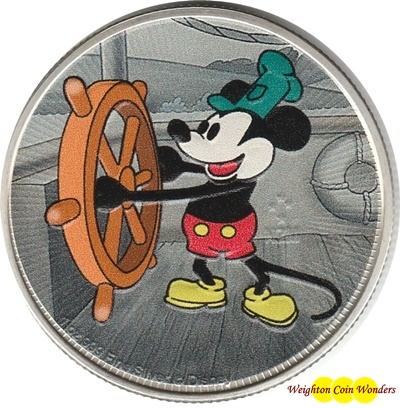 2017 Niue 1oz Silver $2 Disney Steamboat Willie - Coloured