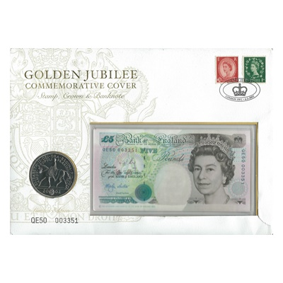 2002 £5 Note and Five Pound Coin - Golden Jubilee