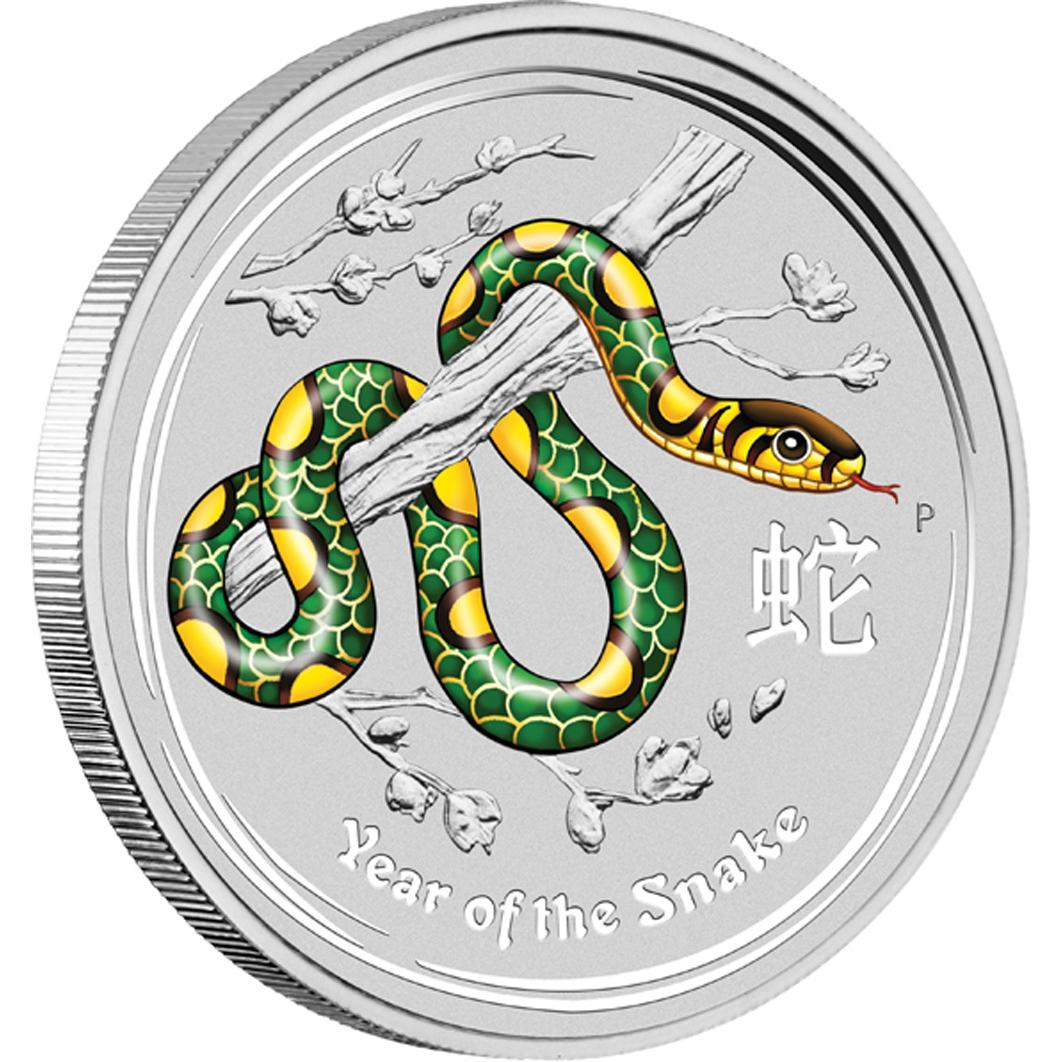 2013 1oz Silver Lunar Snake - Coloured World Money Fair