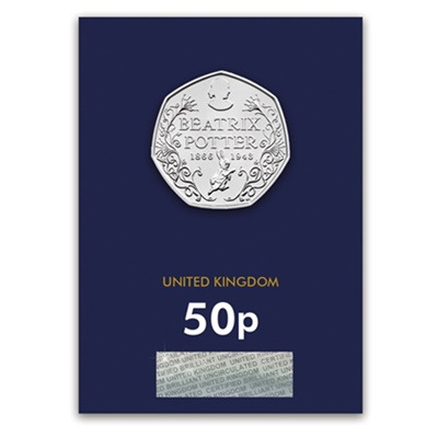 2016 BU 50p Coin (Card) - Beatrix Potter 150th Anniversary