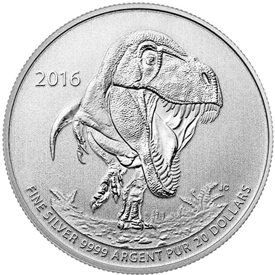 2016 $20 1/4oz Silver Coin Series - T-REX