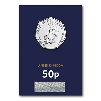 2017 BU 50p Coin (Card) - Peter Rabbit