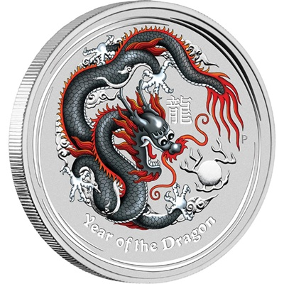 2012 1oz Silver Lunar Dragon - Coloured World Money Fair